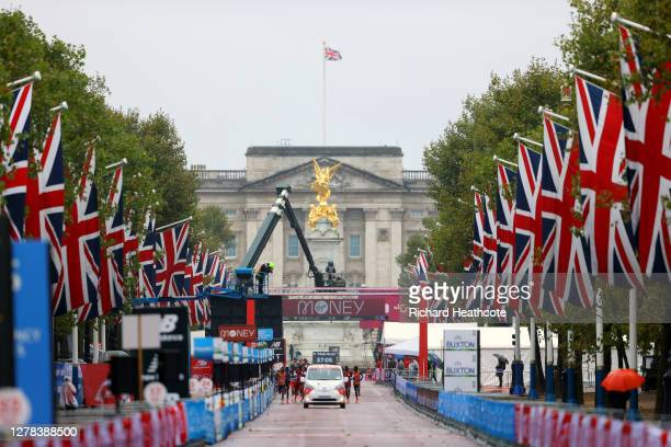 General view as runners compete in the Elite Men's race during the 2020 Virgin Money London Marathon around St. James's Park on October 04, 2020 in...