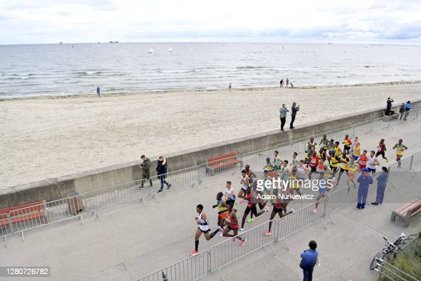 General view as runners compete in the men's final run during the World Athletics Half Marathon Championships on October 17, 2020 in Gdynia, Poland.