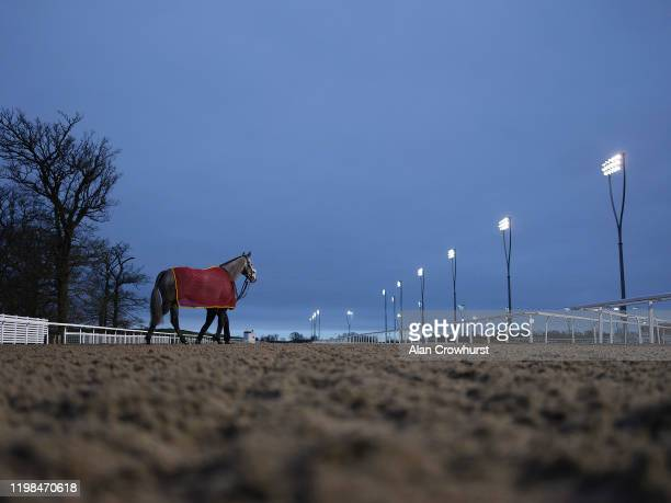 General view as runners cross the course and make their way to the pre parade ring at Chelmsford Racecourse on January 09, 2020 in Chelmsford,...