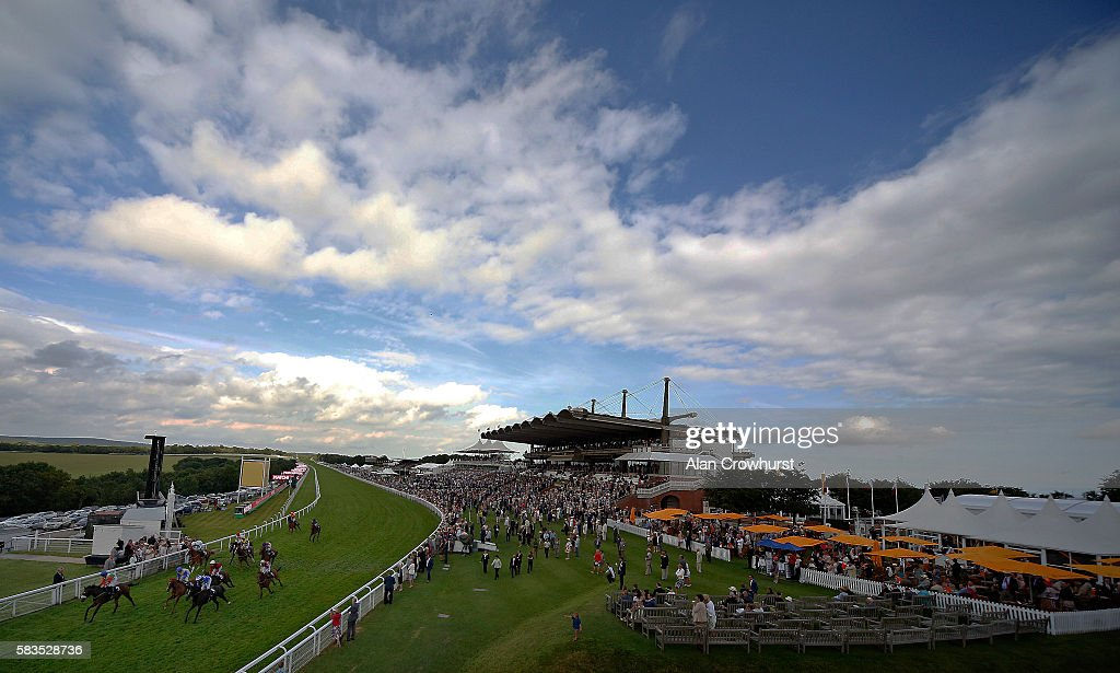 A general view as runners cross the finish line at Goodwood on July 26, 2016 in Chichester, England.