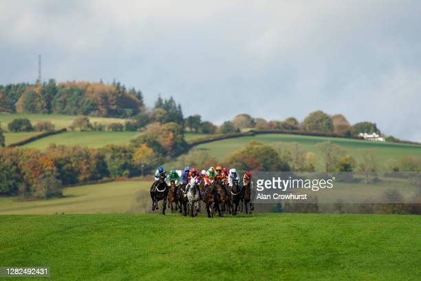 General view as runners drop down the hill towards bend and the back straight at Chepstow Racecourse on October 27, 2020 in Chepstow, Wales. Owners...