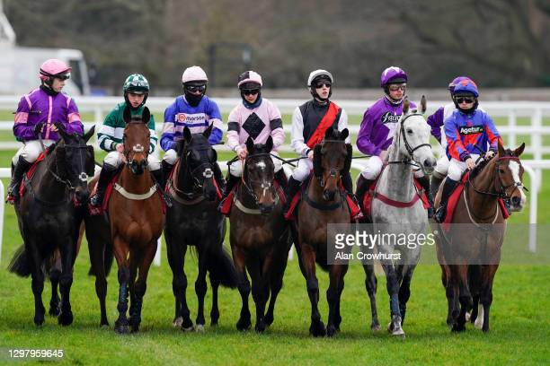 General view as runners form a line before the start of The Matchbook Best Odds Handicap Chase at Ascot Racecourse on January 23, 2021 in Ascot,...