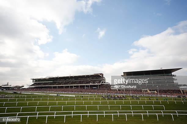 A general view as runners in The Neptune Investment managemanet Novices' Hurdle Race pass the grandstands at Cheltenham racecourse on March 16 2016...