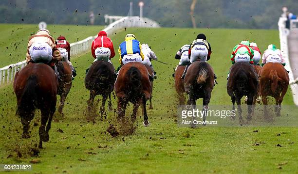 A general view as runners kick up the soft going as they race towards the finish at Chepstow Racecourse on September 13 2016 in Chepstow Wales