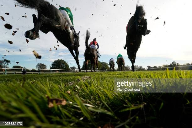 A general view as runners land after clearing a fence at Fontwell Park Racecourse on October 24 2018 in Fontwell England