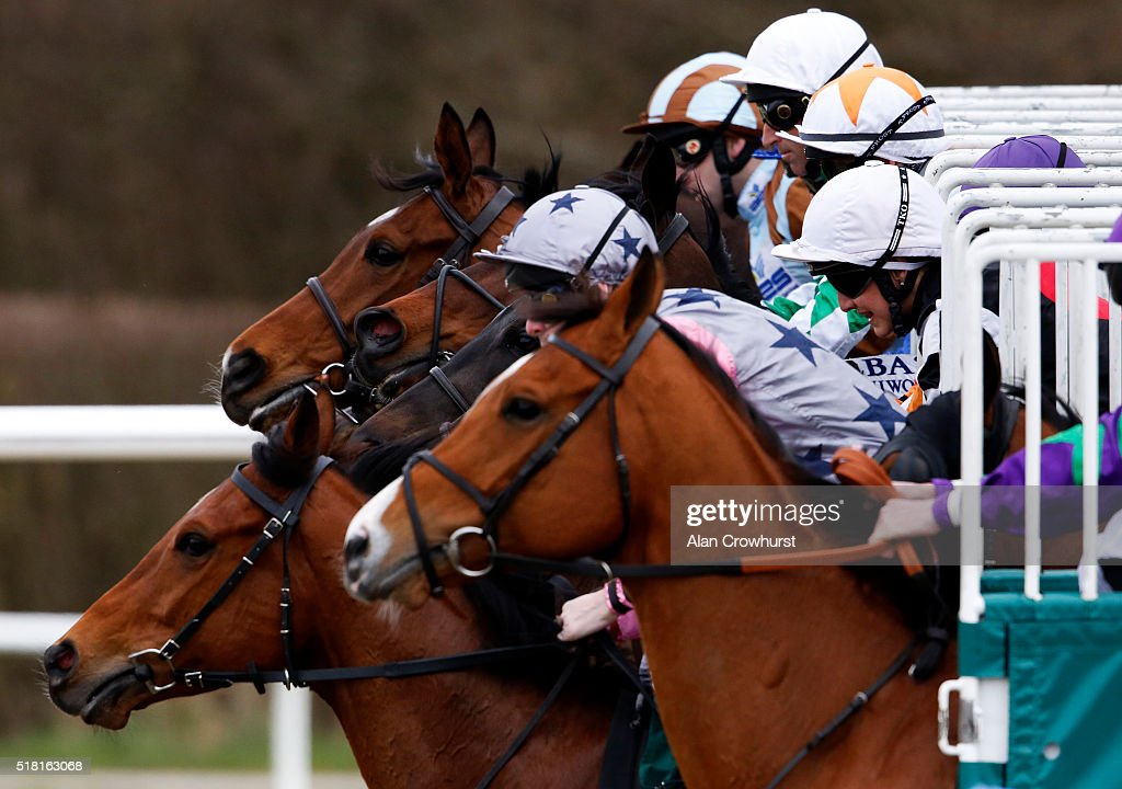 A general view as runners leave the starting stalls at Lingfield racecourse on March 30, 2016 in Lingfield, England.