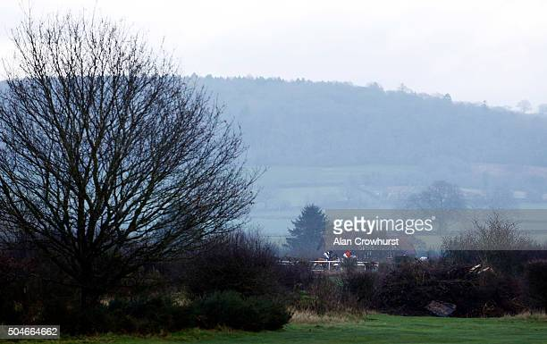 A general view as runners make their way down the back straight at Ludlow racecourse on January 12 2016 in Ludlow England