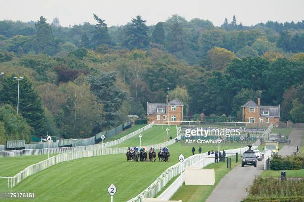 General view as runners make their way down the course in The bet365 Challenge Cup at Ascot Racecourse on October 05, 2019 in Ascot, England.