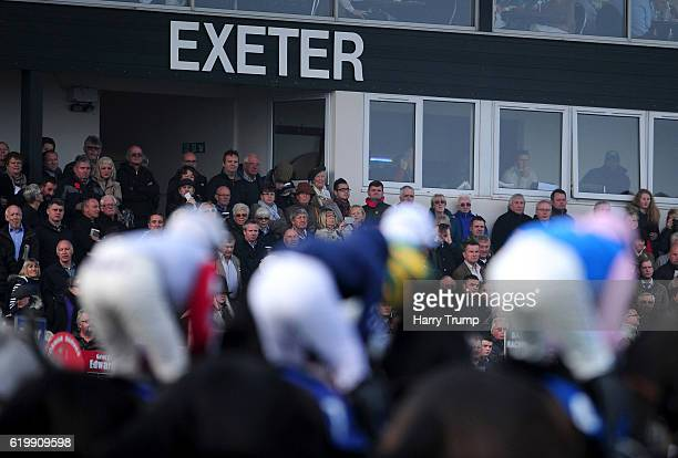 General view as runners make their way past the grandstand at Exeter Racecourse on November 1 2016 in Exeter England