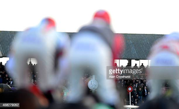A general view as runners make their way past the grandstands at Carlisle racecourse on November 02 2014 in Carlisle England