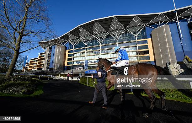 A general view as runners make their way to the track at Ascot racecourse on December 19 2014 in Ascot England