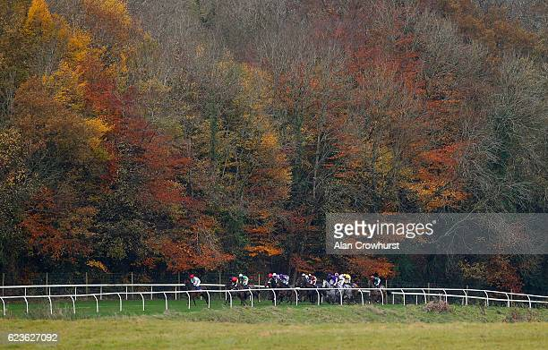 A general view as runners make their way towards the back straight at Chepstow Racecourse on November 16 2016 in Chepstow Wales