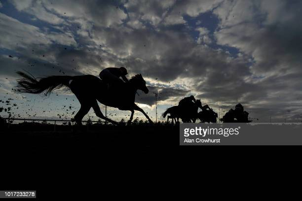 A general view as runners make their way towards the finish at Kempton Park on August 15 2018 in Sunbury England