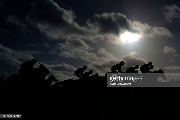 A general view as runners make their way up the straight at Newbury Racecourse on November 30 2018 in Newbury England