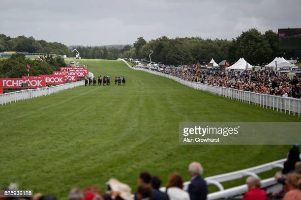 A general view as runners near the finish on day three of the Qatar Goodwood Festival at Goodwood racecourse on August 3 2017 in Chichester England