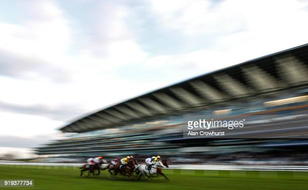 A general view as runners pass the grandstands at Ascot Racecourse on February 17 2018 in Ascot England
