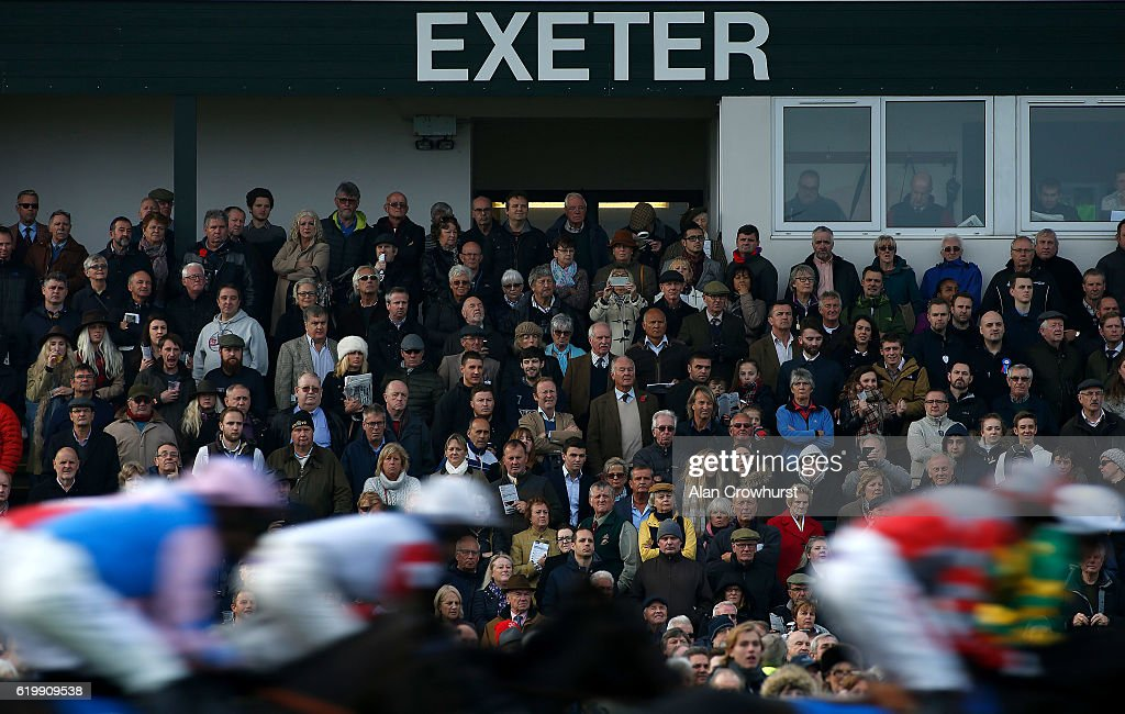 A general view as runners pass the grandstands at Exeter Racecourse on November 1, 2016 in Exeter, England.