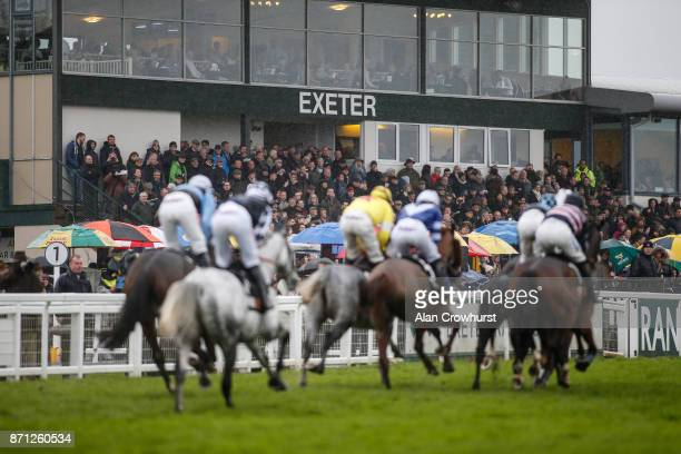 General view as runners pass the grandstands at Exeter racecourse on November 7, 2017 in Exeter, United Kingdom.