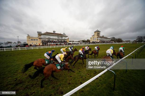 A general view as runners pass the grandstands at Towcester racecourse on March 29 2018 in Towcester England
