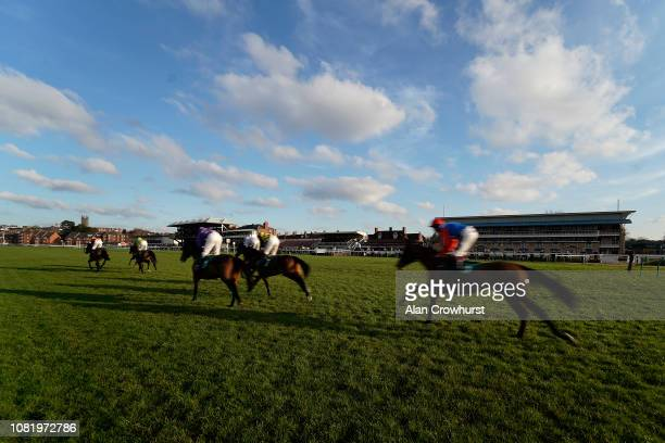 General view as runners pass the grandstands at Warwick Racecourse on December 13, 2018 in Warwick, England.