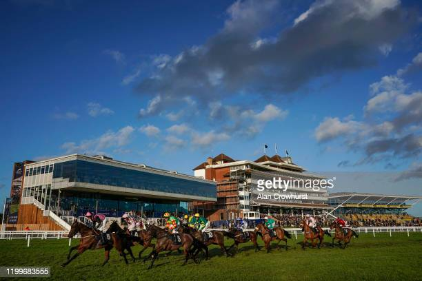 General view as runners pass the grandstands in The EBM Handicap Hurdle at Newbury Racecourse on January 15, 2020 in Newbury, England.
