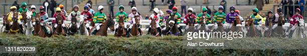 General view as runners prepare for the start of The Randox Grand National Handicap Chase at Aintree Racecourse on April 10, 2021 in Liverpool,...