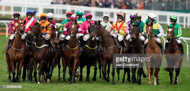 A general view as runners prepare to make the start on Gold Cup Day at Cheltenham Racecourse on March 15 2019 in Cheltenham England