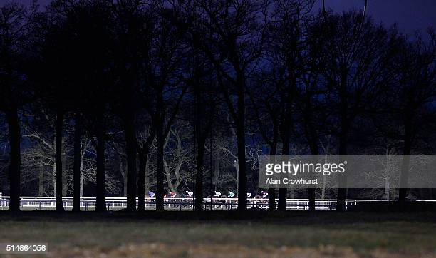 A general view as runners race down the back straight at Chelmsford racecourse on March 10 2016 in Chelmsford England