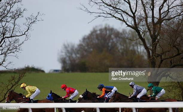 A general view as runners race down the back straight at Chelmsford racecourse on April 16 2016 in Chelmsford England
