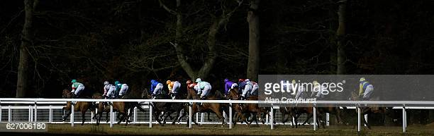 A general view as runners race down the back straight at Chelmsford racecourse on December 01 2016 in Chelmsford England
