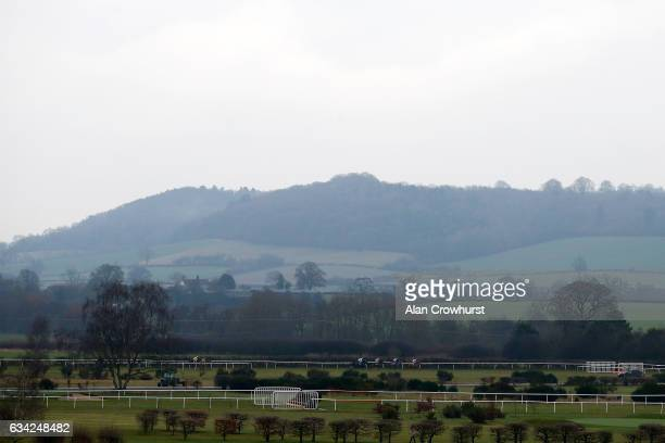 A general view as runners race down the back straight at Ludlow racecourse on February 8 2017 in Ludlow England
