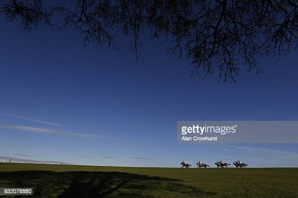A general view as runners race down the back straight at Wincanton Racecourse on January 19 2017 in Wincanton England