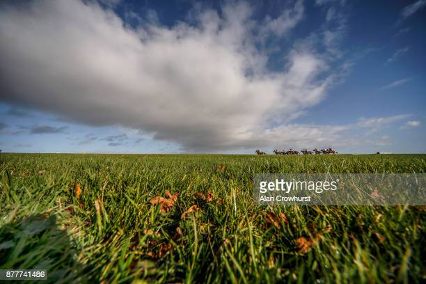 A general view as runners race down the back straight at Wincanton racecourse on November 23 2017 in Wincanton United Kingdom
