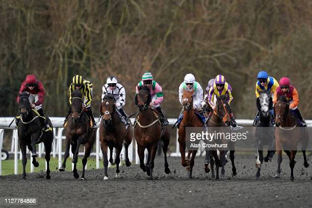 A general view as runners race down the back straight in The Move Over To Matchbook Handicap at Kempton Park Racecourse on February 06 2019 in...