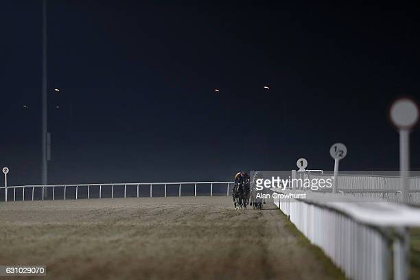 A general view as runners race down the straight at Chelmsford racecourse on January 5 2017 in Chelmsford England