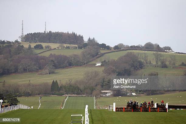 A general view as runners race down the straight at Chepstow Racecourse on December 27 2016 in Chepstow Wales