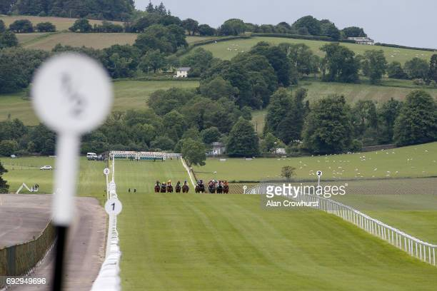A general view as runners race down the straight course at Chepstow racecourse on June 6 2017 in Chepstow Wales