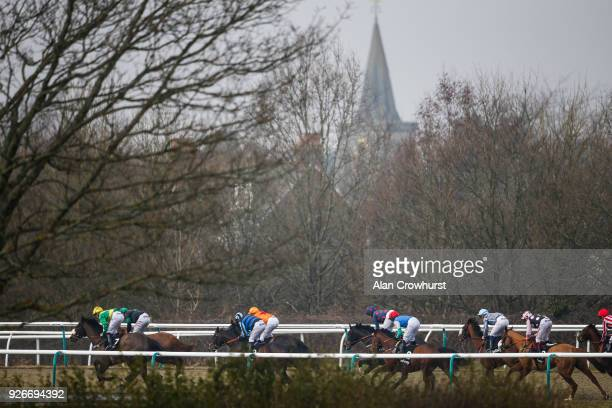 A general view as runners race towards the back straight at Lingfield Park racecourse on March 3 2018 in Lingfield England