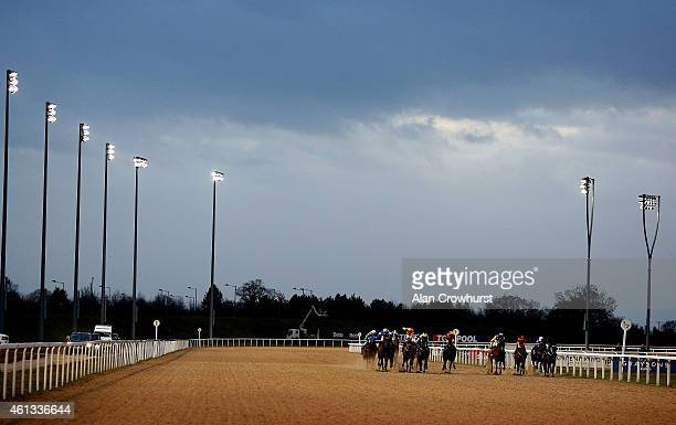 A general view as runners race towards the finish at Chelmsford City racecourse on January 11 2015 in Chelmsford England