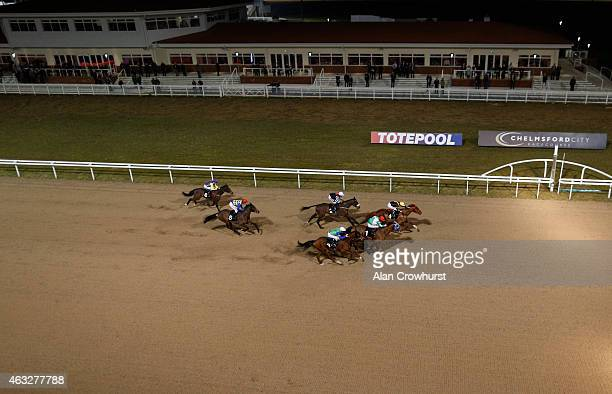 A general view as runners race towards the finish at Chelmsford City racecourse on February 12 2015 in Chelmsford England