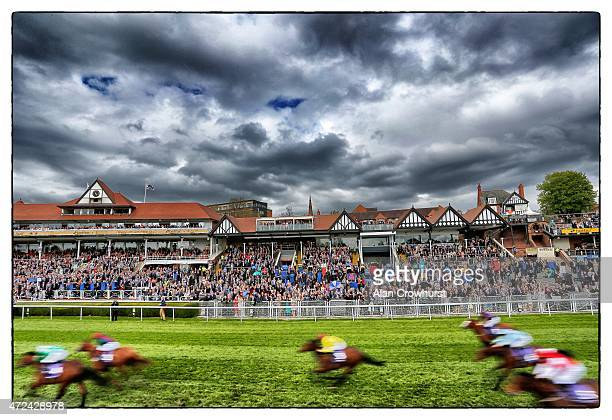 A general view as runners race towards the finish at Chester racecourse on May 07 2015 in Chester England