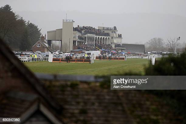 A general view as runners race towards the finish at Ludlow racecourse on December 21 2016 in Ludlow England