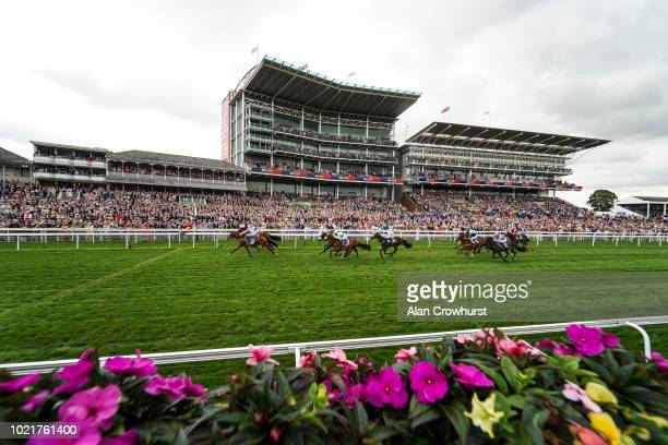 A general view as runners race towards the finish at York Racecourse on August 23 2018 in York United Kingdom