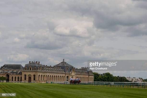 A general view as runners race towards The Musée du Cheval at Chantilly racecourse on June 4 2017 in Chantilly France