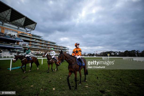 A general view as runners return after finishing at Ascot Racecourse on February 17 2018 in Ascot England