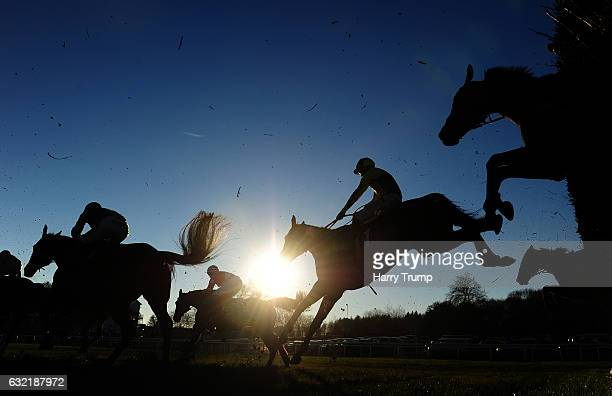 General view as runners take a flight at Chepstow Racecourse on January 20 2017 in Chepstow Wales