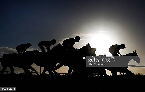 A general view as runners take the top bend at Fontwell racecourse on December 08 2015 in Fontwell England