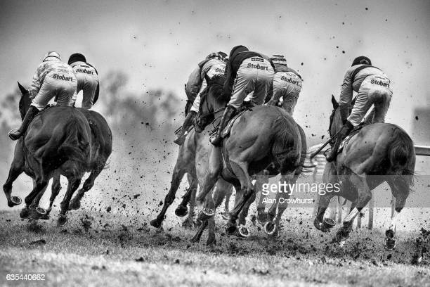 A general view as runners turn down the side of the track at Towcester racecourse on February 15 2017 in Towcester England