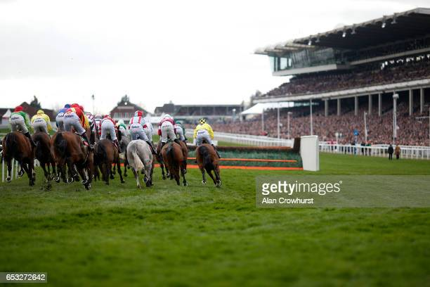 A general view as runners turn into the straight at Cheltenham racecourse on day one of the festival meeting on March 14 2017 in Cheltenham England