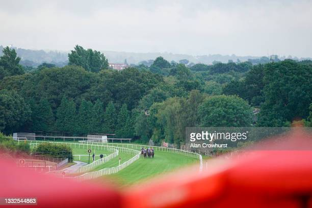General view as runners turn into the straight in The Casumo Best Odds Guaranteed Handicap at Sandown Park on August 05, 2021 in Esher, England.